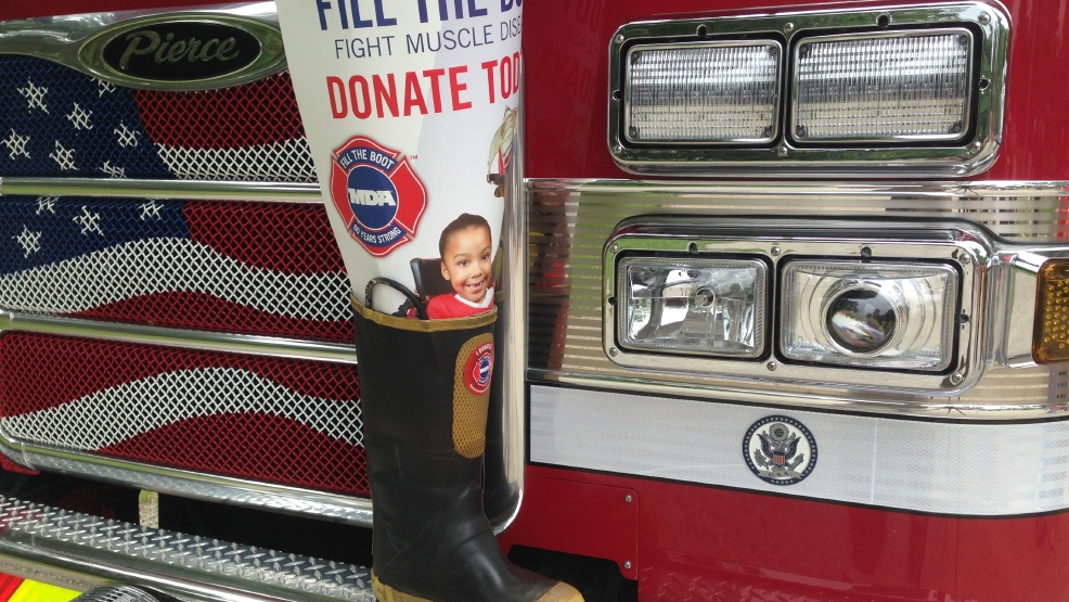 Firefighters in Brown County are raising money for the MDA through the Fill the Boot campaign. (WLUK/Mike Raasch)