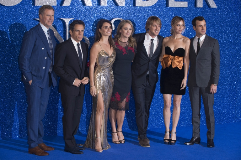 "Will Ferrell, Ben Stiller, Penelope Cruz, Christine Taylor, Owen Wilson, Kristen Wiig and Justin Theroux attend the U.K. premiere of ""Zoolander 2"" in London on Feb. 4, 2016. (Euan Cherry/WENN)"