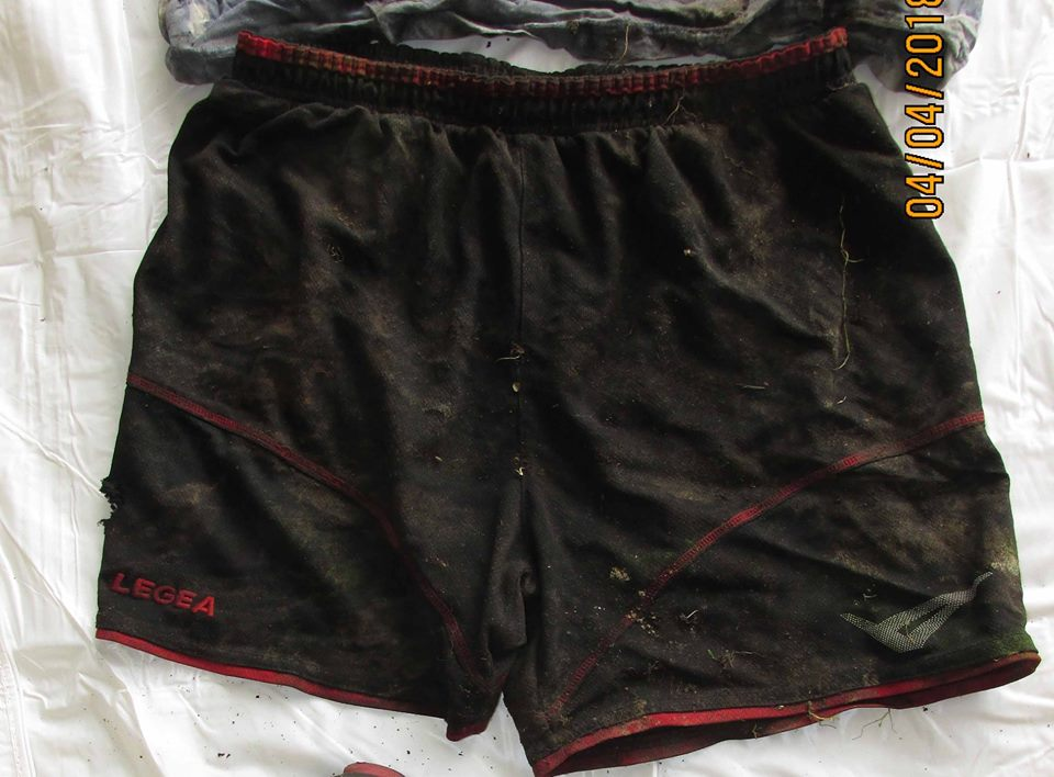 "<p>Black and red nylon athletic shorts, ""Legea"" brand. ""Legea"" brand shorts are marketed mainly for soccer. (Oregon State Police photo)</p>"