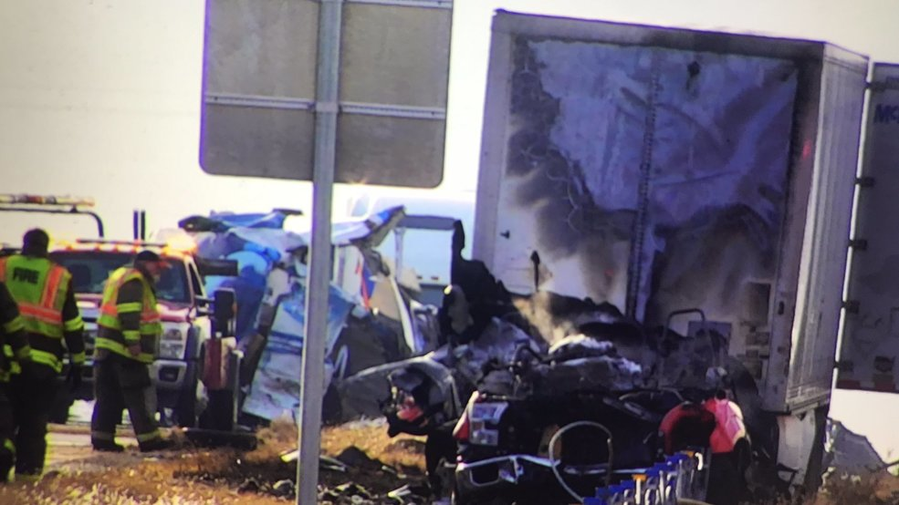Fiery crash shuts down I-35 near Goldsby | KOKH