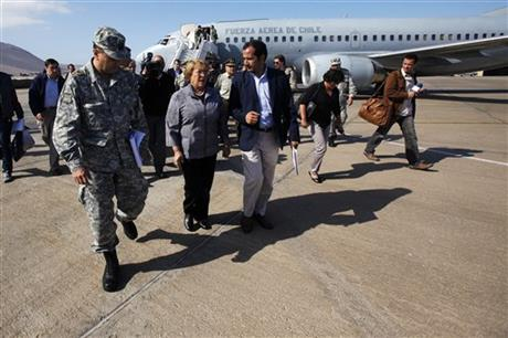 Chile's President Michelle Bachelet arrives at the airport in Iquique, Chile, Wednesday, April 2, 2014.