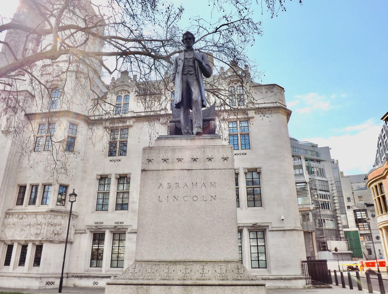 FACT #21: A replica was almost sent to London / DETAILS: London was in talks to receive a replica of Barnard's statue. It was planned to join a series of other statues in an area one block north of Westminster Abbey. However, officials chickened out when it received high-profile criticism and opted for a more pristine, heroic depiction of Lincoln instead (pictured). The replica statue was sent to Manchester, England where it stands today at 19 Brazennose Street. / SOURCE: 'George Grey Barnard's Controversial Lincoln' by Harold E. Dickson for Art Journal Vol. 27, No. 1 (1967) / Image: Myles Foale // Published: 4.2.20