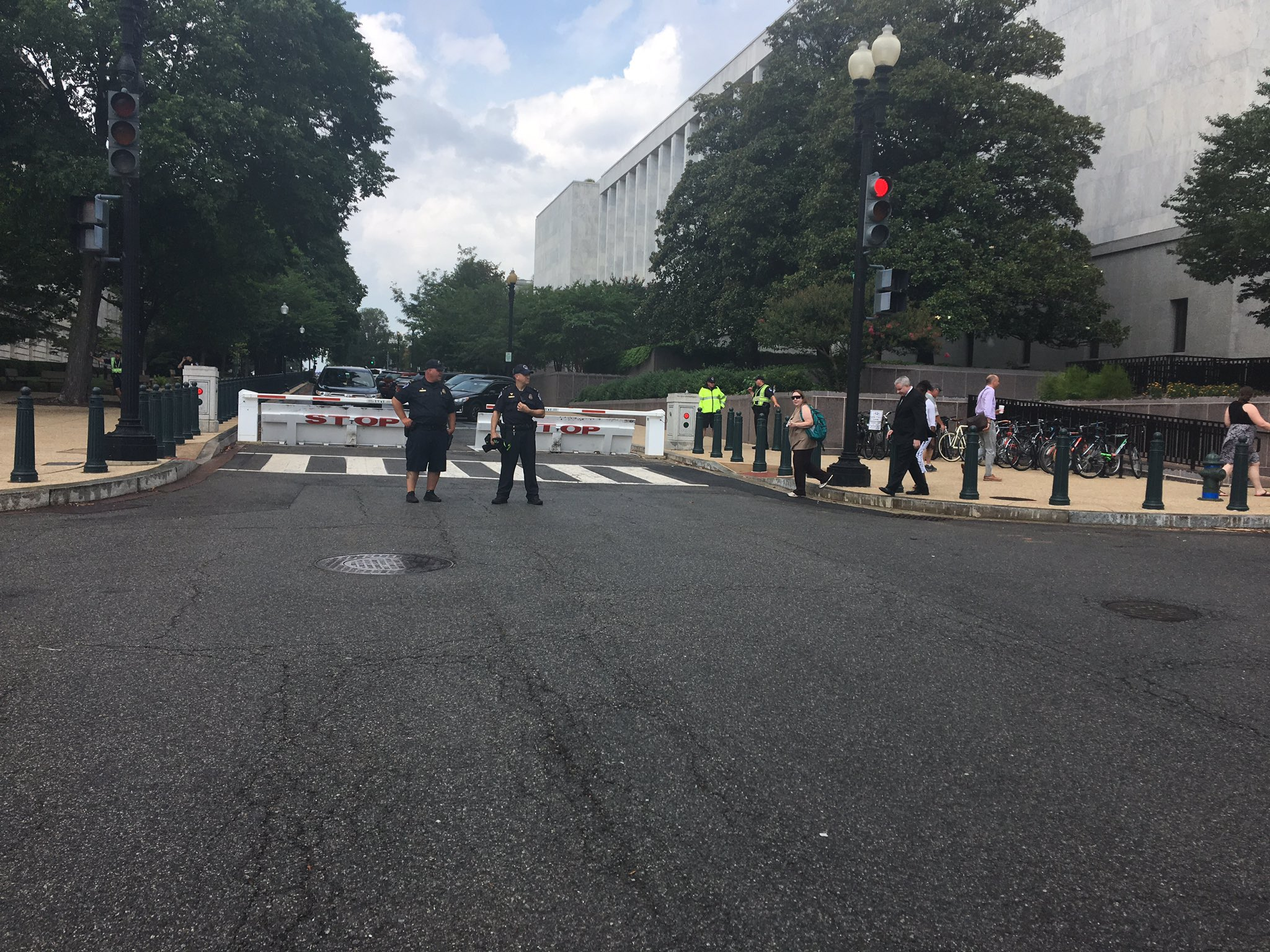 Roads blocked and lockdowns due to vehicle incident near U.S. Capitol, Monday, July 17, 2017 (Nathan Baca/ABC7)