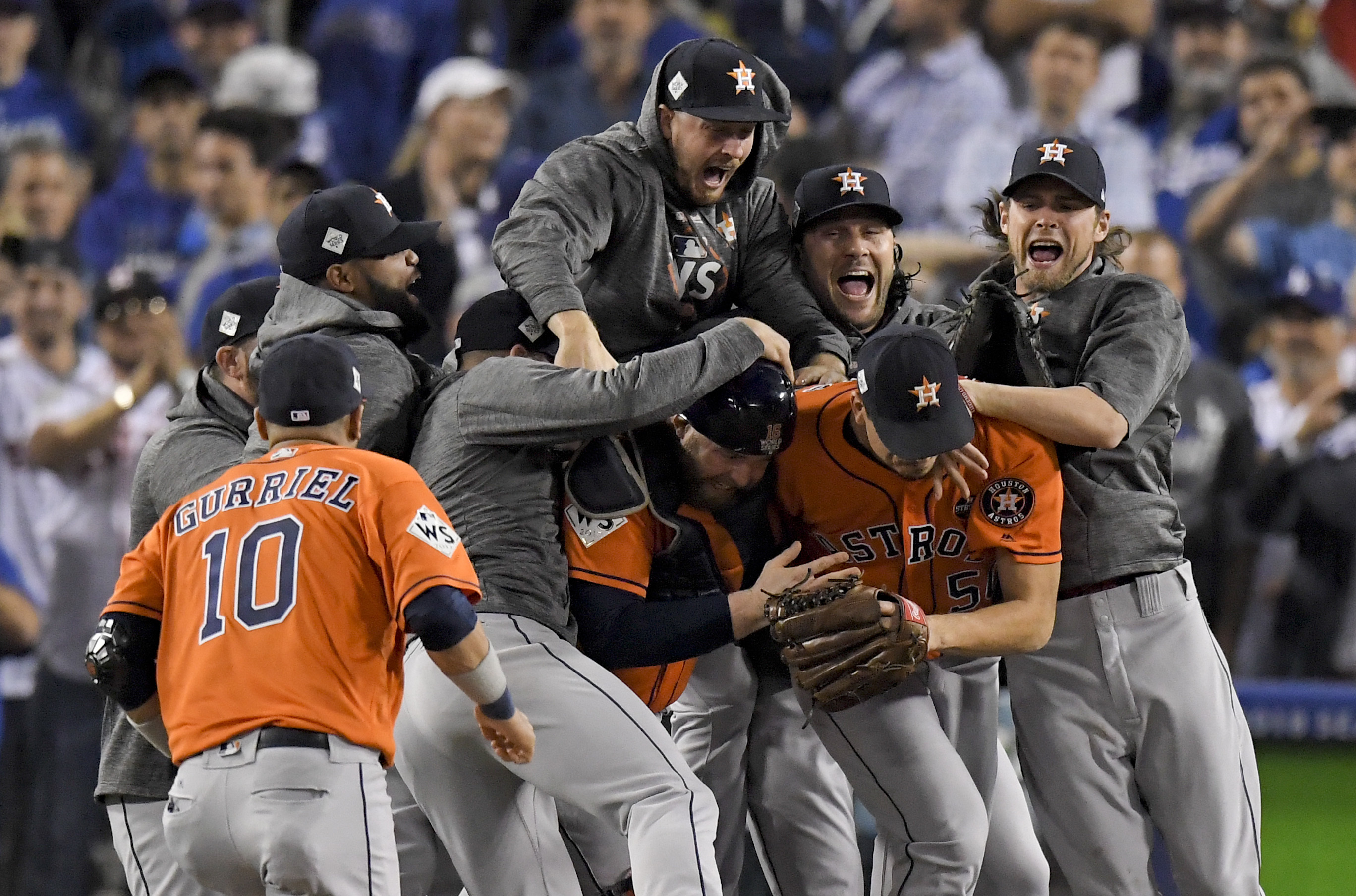 The Houston Astros celebrate after their win against the Los Angeles Dodgers in Game 7 of the World Series Wednesday, Nov. 1, 2017, in Los Angeles. The Astros won 5-1 to win the series 4-3. (AP Photo/Mark J. Terrill)