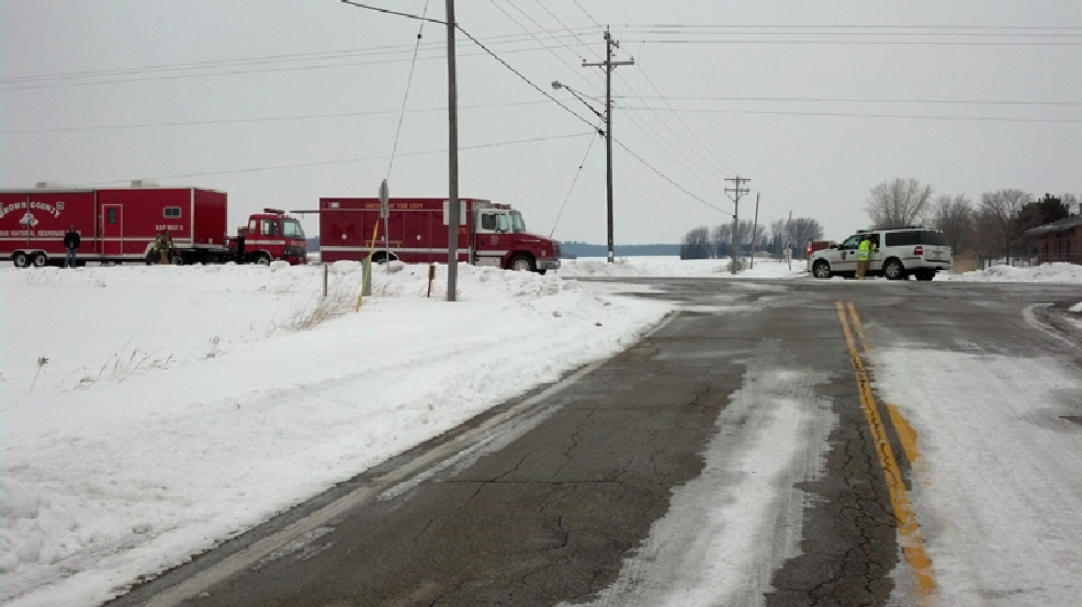 The Green Bay Metro Fire Department and Brown County Hazardous Materials Response Team at the scene of a chlorine leak on S. Grandview Rd. in Green Bay on Friday, March 7, 2014. (WLUK/Ben Krumholz)