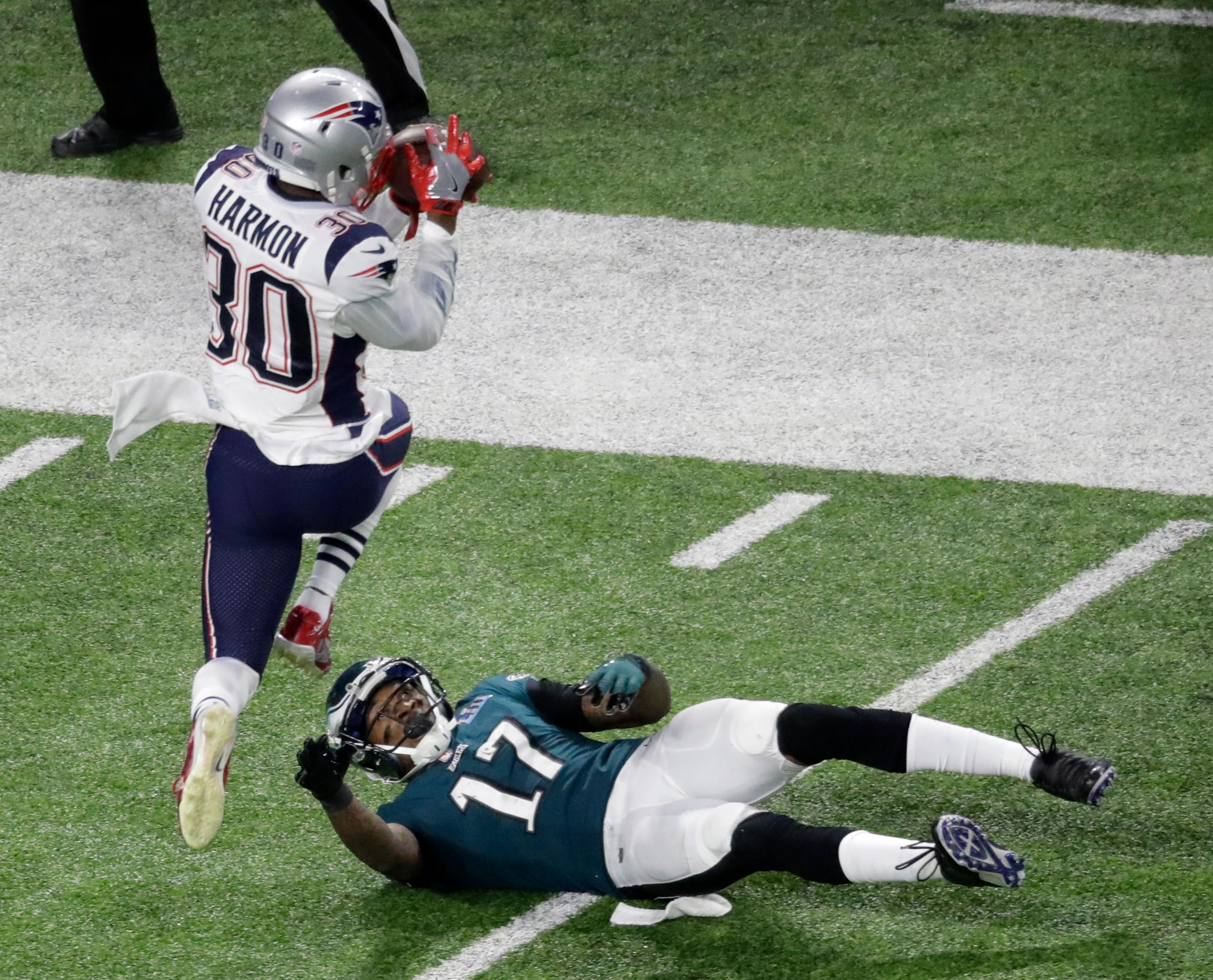 New England Patriots strong safety Duron Harmon intercepts a pass intended for Philadelphia Eagles wide receiver Alshon Jeffery during the first half of the NFL Super Bowl 52 football game Sunday, Feb. 4, 2018, in Minneapolis. (AP Photo/Eric Gay)