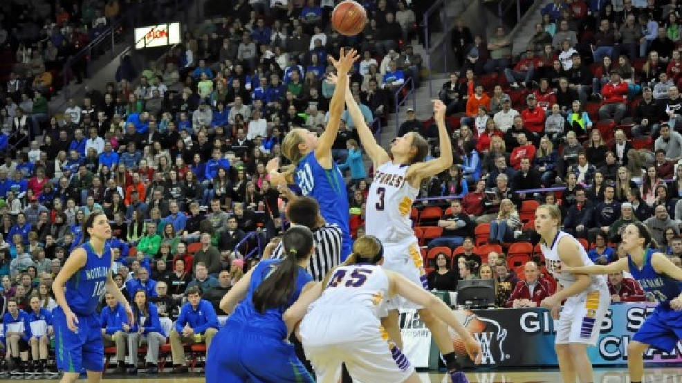 Notre Dame battled DeForest in the Division 2 girls state basketball title game. (Doug Ritchay/WLUK)