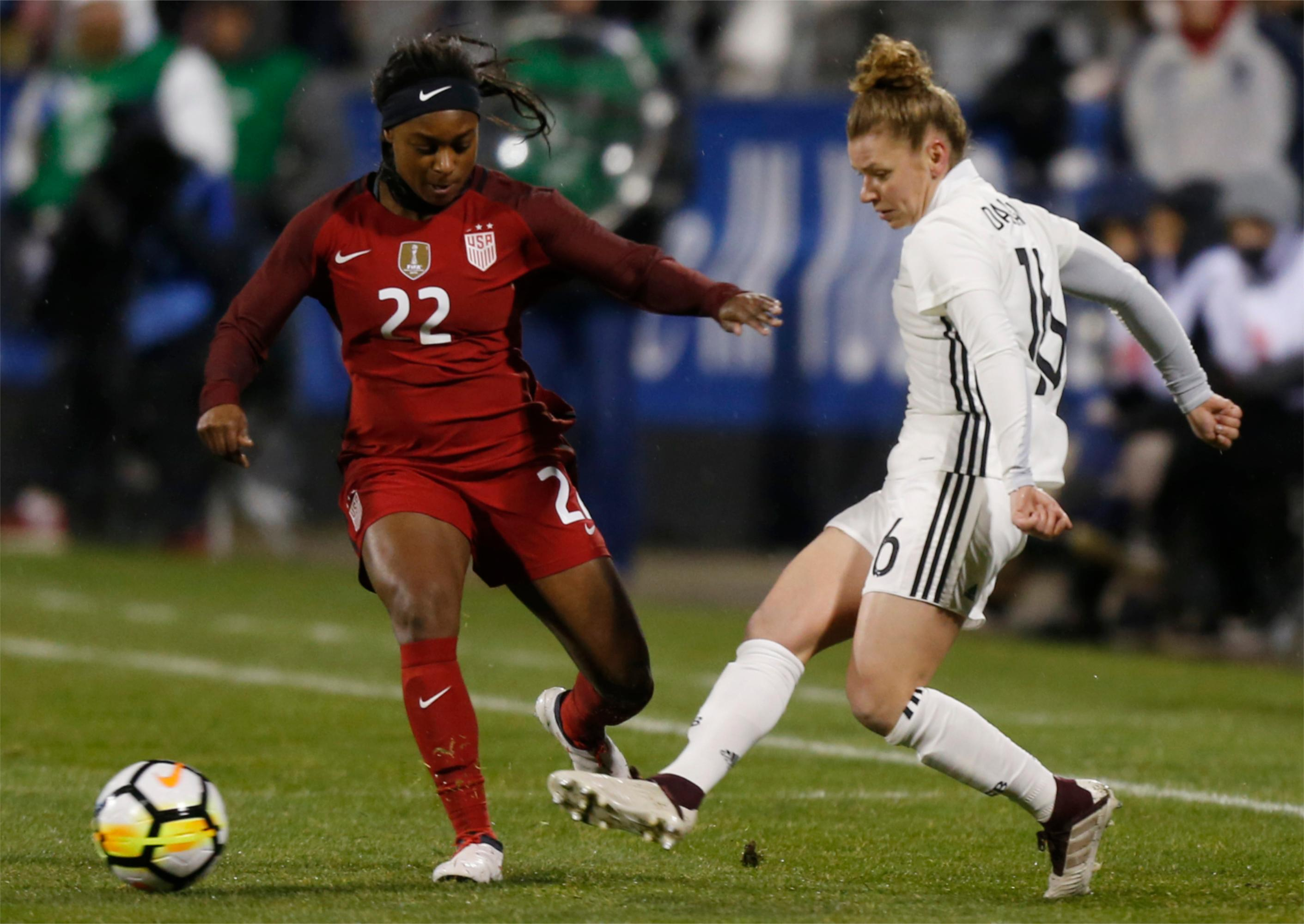 Germany's Linda Dallmann, right, clears the ball past United States' Taylor Smith during the first half of a SheBelieves Cup women's soccer match Thursday, March 1, 2018, in Columbus, Ohio. (AP Photo/Jay LaPrete)