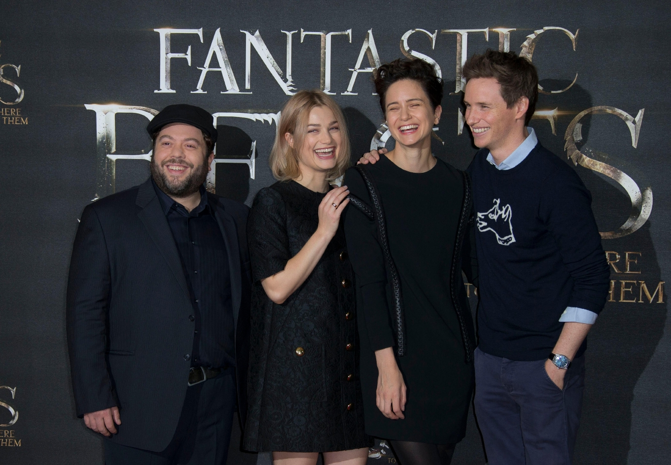 Actors Dan Fogler, from left, Alison Sudol, Katherine Waterston and Eddie Redmayne pose for photographers upon arrival at the photo call of the film 'Fantastic Beasts and Where to Find Them', at a central London hotel, Thursday, Oct. 13, 2016. (Photo by Joel Ryan/Invision/AP)