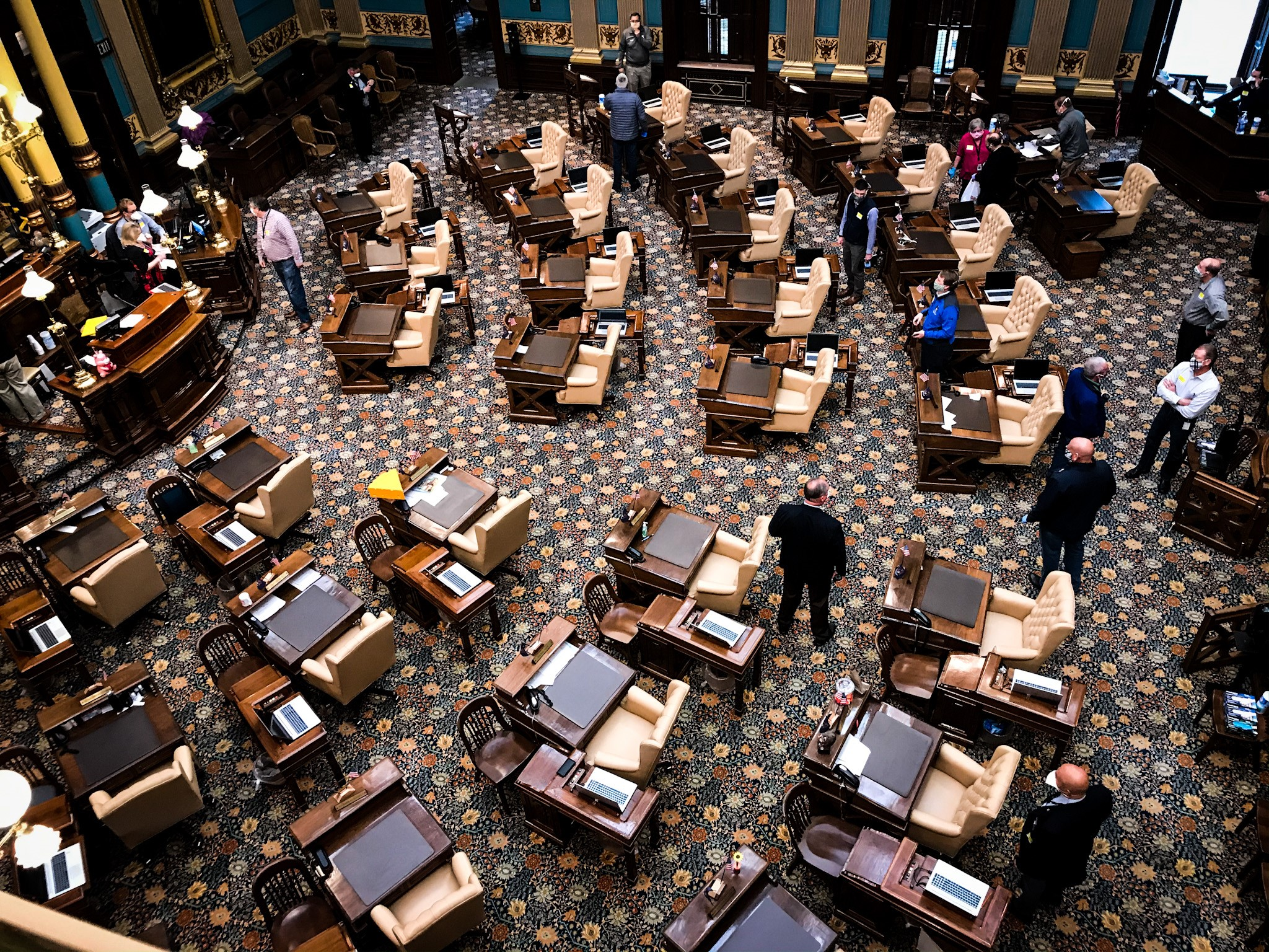 State senators practice social distancing measures in the Michigan Senate chamber on Tuesday, April 7, 2020. (SBG/Mikenzie Frost)