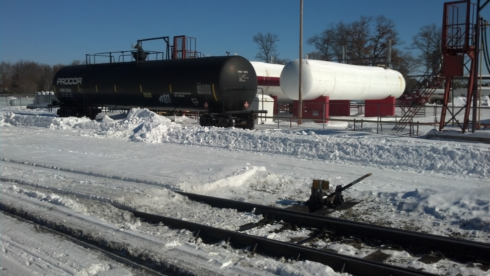 Lakes Gas Company received at least four railcars of propane on Wednesday night. (WLUK/Eric Peterson)