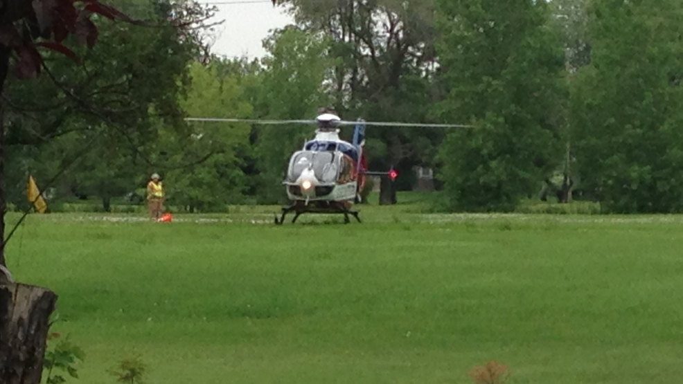 A Theda Star helicopter lands near the scene of a horse vs. motorcycle accident in Fond du Lac county.