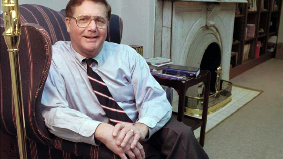 FILE - In this file photo made Dec. 20, 1995, Jeb Stuart Magruder, then pastor of the First Presbyterian Church, poses for photos in his office in Lexington, Ky. Magruder, an aide to President Nixon who spent seven months in prison for his role in covering up the 1972 break-in at Washington's Watergate complex, died Sunday, May 11, 2014, due to complications from a stroke. He was 79. (AP Photo/Breck Smither, File)