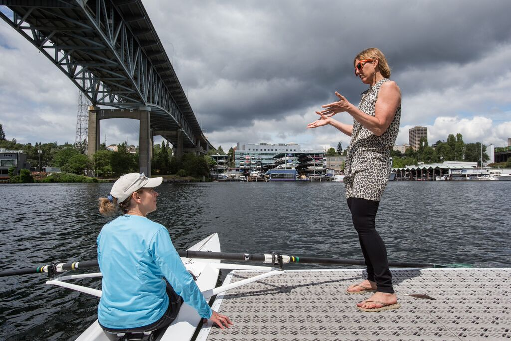 Meri-Jo Borzilleri receives instructions from former Yale and Olympic rower Ginny Gilder before heading out on her first rowing experience. (Courtesy Meri-Jo Borzilleri)