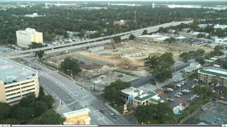 A view of the early stages of construction via the MGM Park webcam at biloxishuckers.com. (Photo courtesy the Biloxi Shuckers)