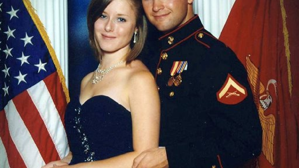This undated file photo provided by the San Bernardino County, Calif., Sheriff's Department shows Erin Corwin, left, with her husband, Jonathan Wayne Corwin, a corporal in the U.S. Marine Corps. Erin Corwin disappeared after leaving her home on the Twentynine Palms Marine Corps base June 28, 2014. Christopher Brandon Lee, a recently discharged Marine who volunteered at a horse ranch with Erin Corwin, was arrested July 4, 2014, on suspicion of possession of a destructive device. Lee, the alleged lover of Erin Corwin, was arrested Sunday, Aug. 18, 2014, in Alaska in connection with Corwin's disappearance, the sheriff's department announced Monday, Aug. 8, 2014. (AP Photo/San Bernardino County Sheriff's Department, File)