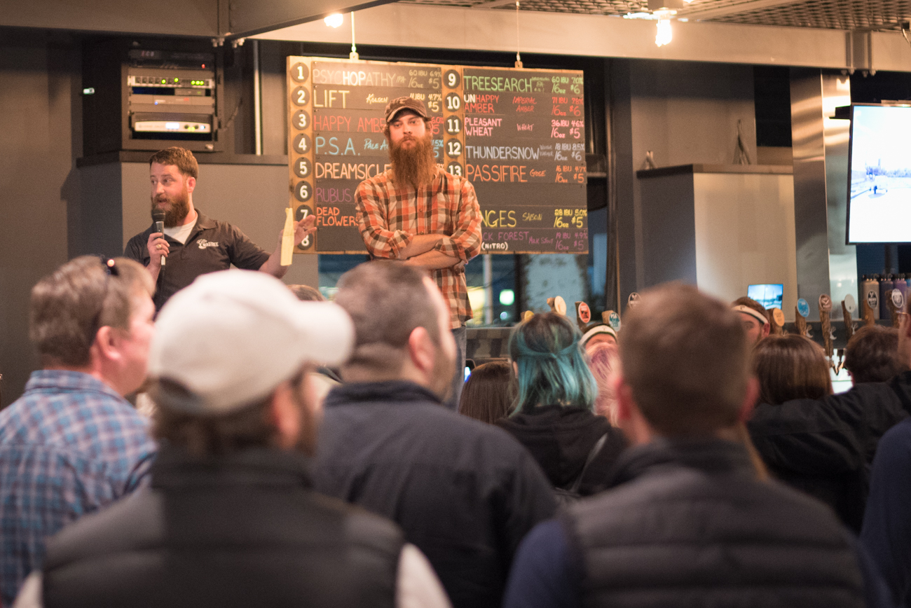 Kenny McNutt and Brady Duncan (owners) address the taproom crowd. / Image: Phil Armstrong, Cincinnati Refined // Published: 2.11.17