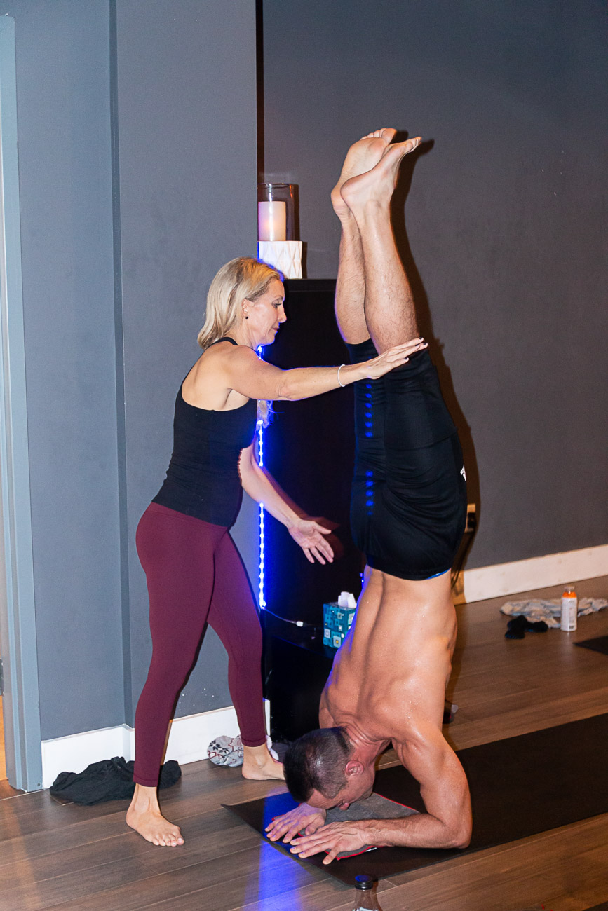 """Most yoga studios teach at an introductory level and will not encourage students to try inversions or arm balances for fear of scaring people away. We don't want our students to feel intimidated, but rather to feel inspired by what they see other yogis doing in class and be willing to give it a try,"" Moorman says. / Image: Elizabeth A. Lowry // Published: 3.5.20"