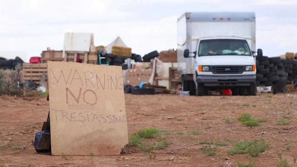 New Mexico compound desert sign AP875.jpg