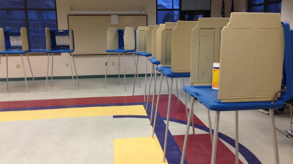 Voting stations at the De Pere Community Center are seen on April 1, 2014. (WLUK/Pauleen Le)
