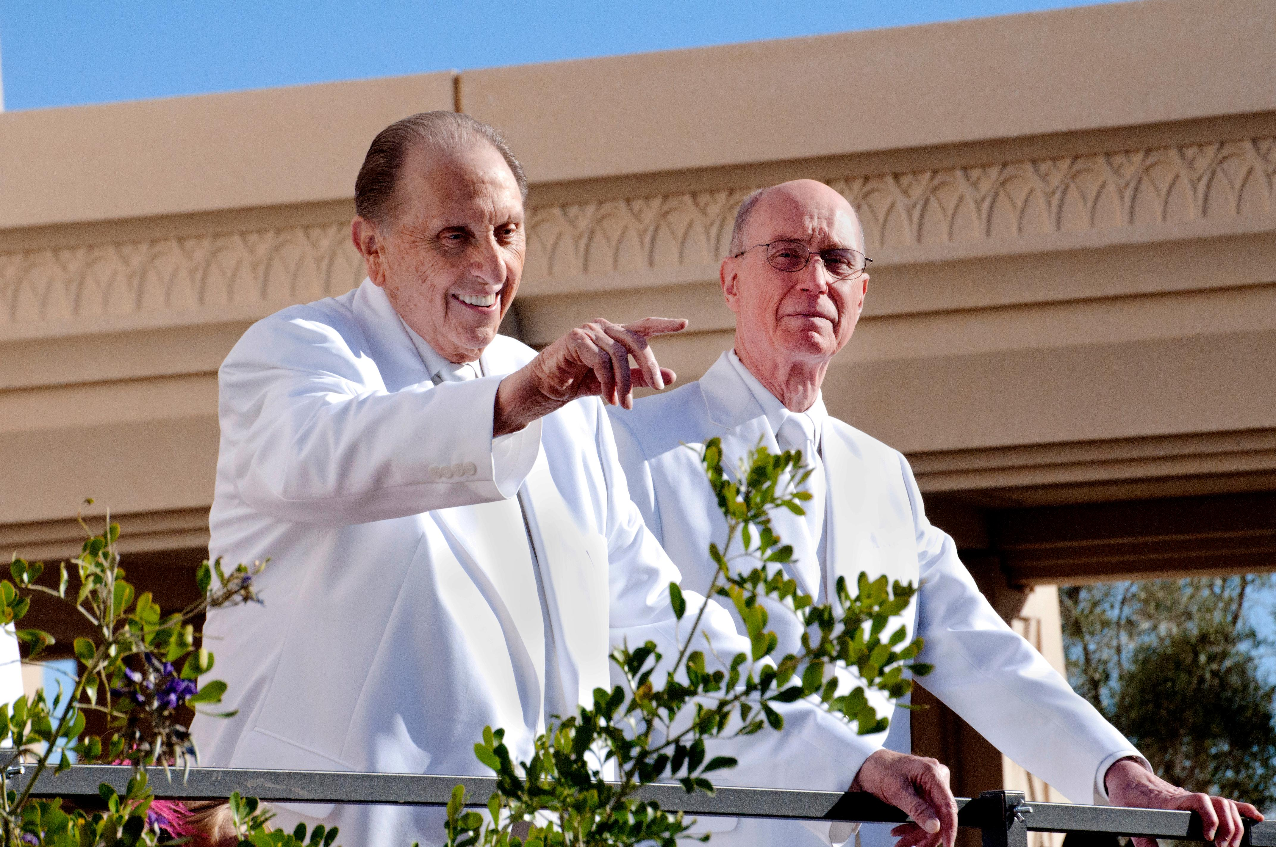 President Thomas S. Monson greets Latter-day Saints just prior to the dedication of the Gilbert Arizona Temple on March 2, 2014. President Henry B. Eyring, first counselor in the First Presidency of the Church, also attended. (Photo: MormonNewsroom.org){&amp;nbsp;}<p></p>