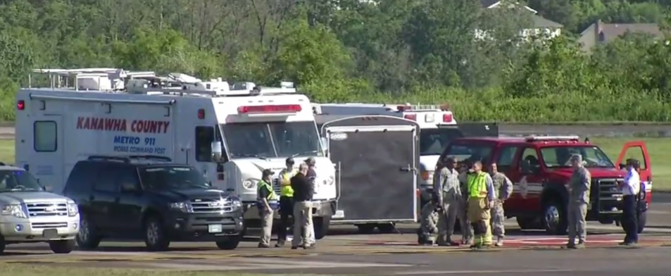 Emergency crews gather at Yeager Airport after a double fatal airplane crash that killed a pilot and a co-pilot. (WCHS/WVAH)