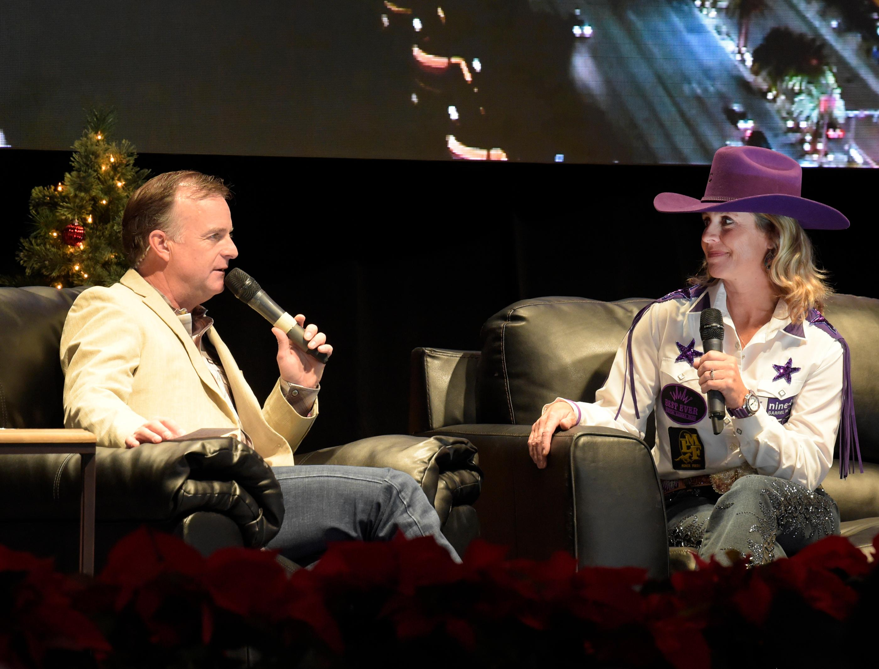 """Outside the Barrel"" with Flint Rasmussen as he interviews Barrel Racer and Veterinarian Cathy Grahams on the Rodeo Live Stage during Cowboy Christmas at the Las Vegas Convention Center. Sunday December 10, 2017. [Glenn Pinkerton/Las Vegas News Bureau]"