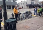 Appleton city leaders and bicyclists unveil a new bike corral along College Ave., May 13, 2014. (WLUK/Chad Doran)