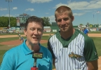Packers wide receiver talks to Fox 11 sports director Drew Smith after Jordy's charity softball game