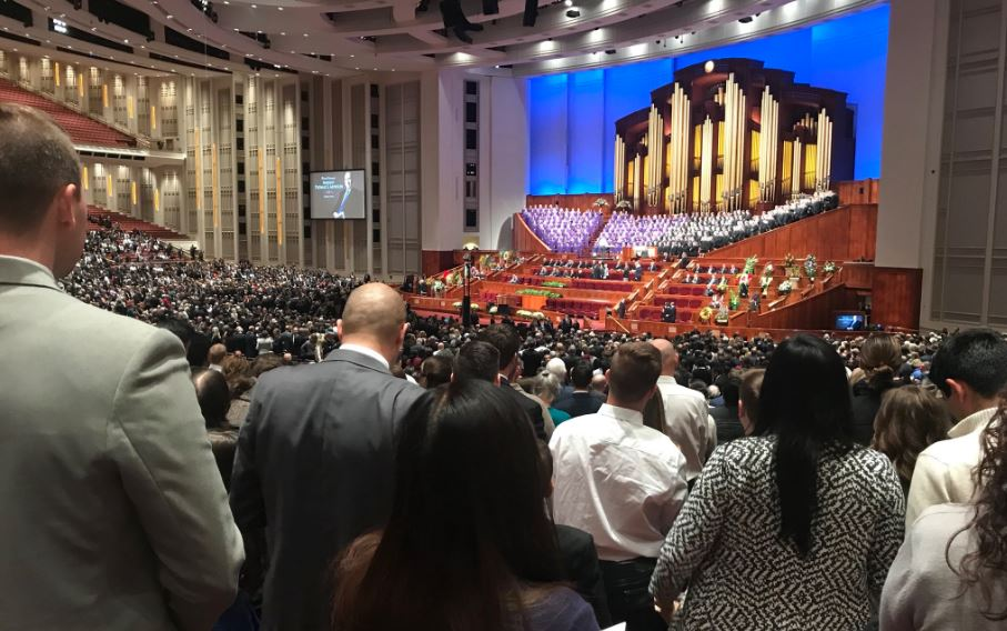 Inside the LDS Conference Center at the funeral of LDS church President Thomas S. Monson (Photo: Dan Rascon / KUTV)<p></p>