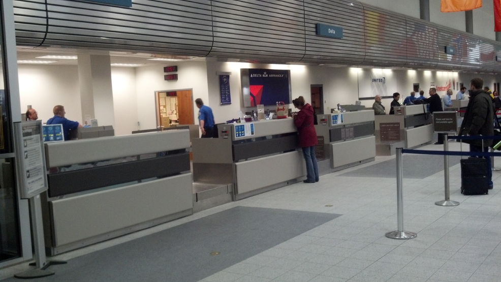 File photo of the Delta ticket counter at Austin Straubel International Airport in Ashwaubenon.