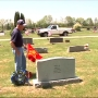 Before Memorial Day, WW2 veteran places flags at graves of those who didn't come home