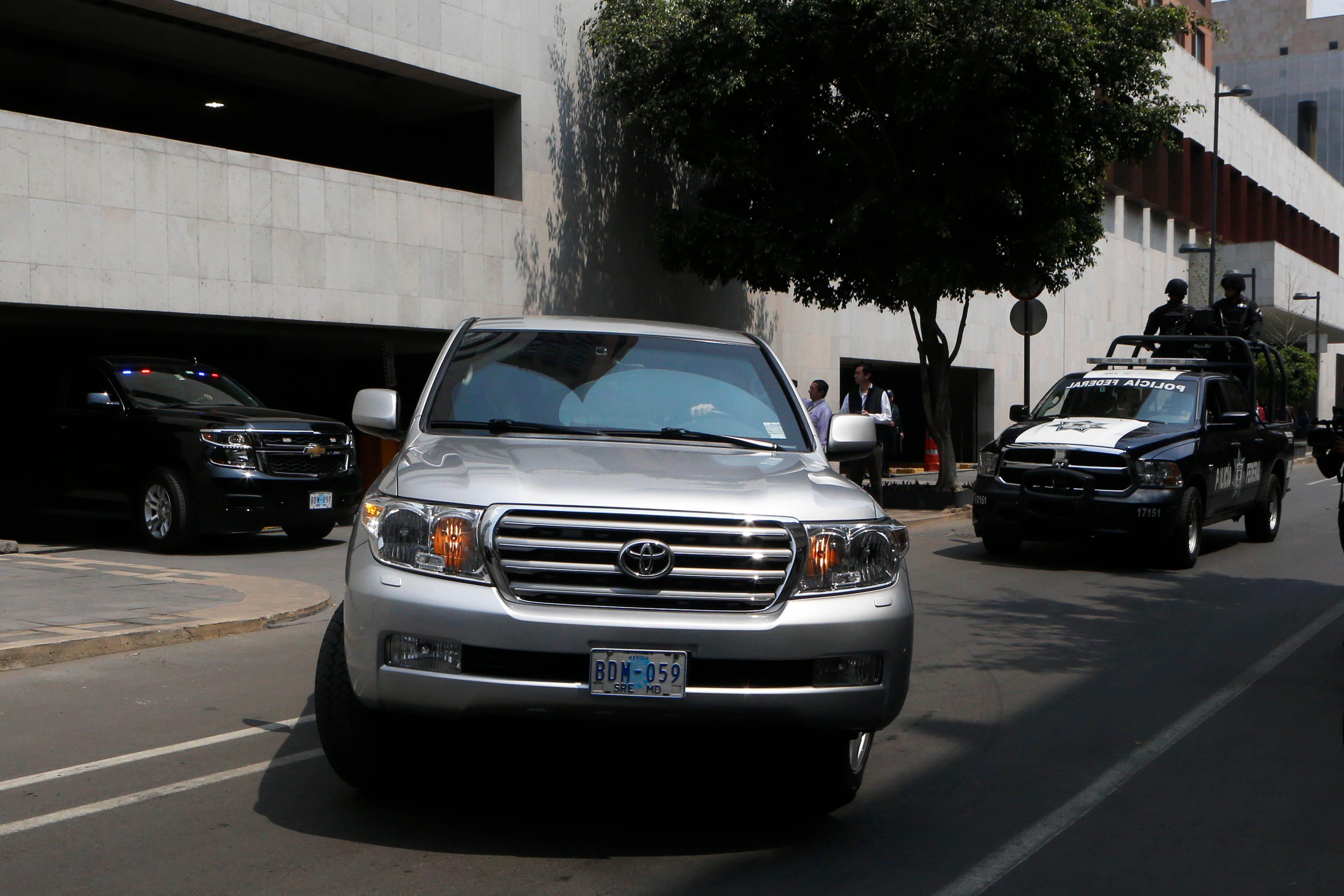 A convoy transporting White House envoy Jared Kushner leaves the Foreign Ministry and heads to the presidential residence Los Pinos, in Mexico City, Wednesday, March 7, 2018. The senior White House adviser and presidential son-in-law was meeting with Mexico's president and foreign minister Wednesday amid heightened tensions over the border wall and trade. (AP Photo/Marco Ugarte)