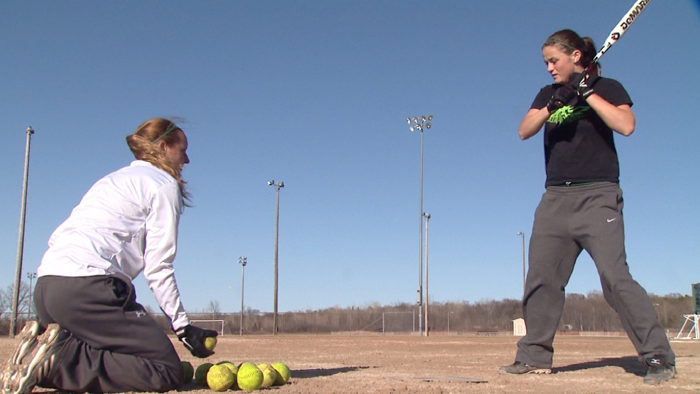 Marissa Michalkiewicz of the Green Bay Phoenix softball team takes part in practice drills.