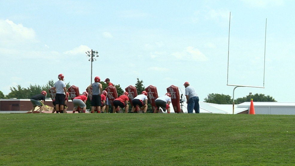 Neenah High School football team begins practice on Tuesday, August 5, 2014.
