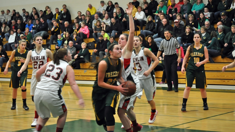 Freedom's Kim Runge looks to shoot against Berlin during their regional game Tuesday. (WLUK-TV)