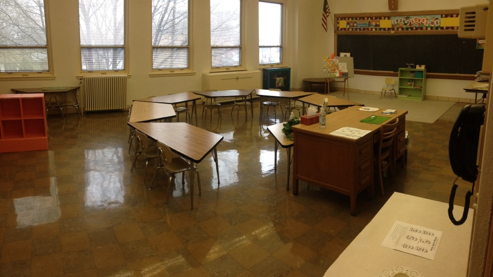 A classroom in the old St. Joseph Parish school is seen on Tuesday, April, 29, 2014. It is currently being used for parish religious education classes.
