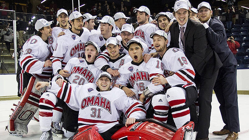 Nebraska Omaha celebrates its 4-0 victory against RIT in the 2015 Midwest Regional final, sending the Mavericks to their first Frozen Four. (Courtesy UNO Athletics)