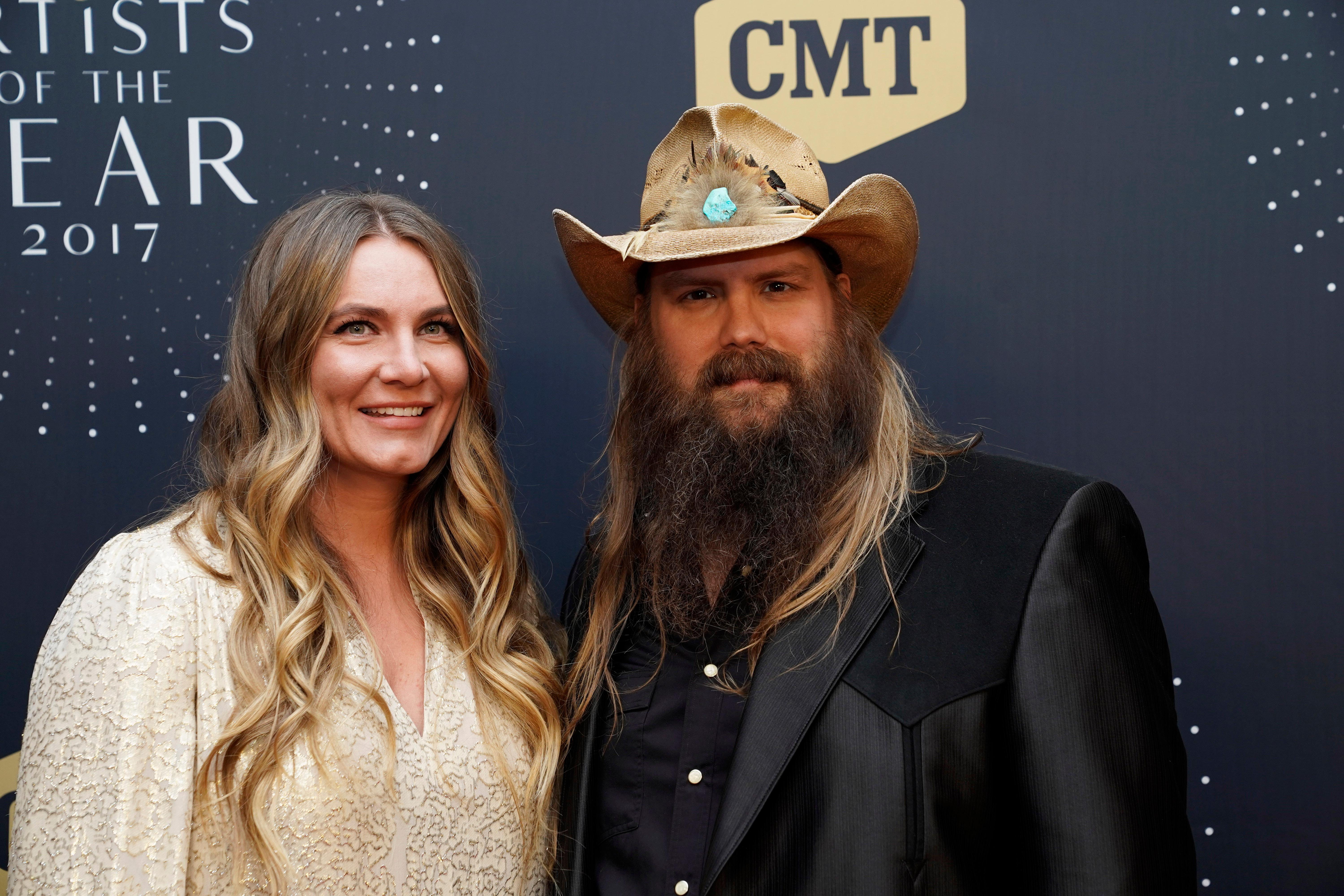 Chris Stapleton and wife Morgane Stapleton seen at 2017 CMT Artists of the Year at Schermerhorn Symphony Center on Wednesday, Oct. 18, 2017, in Nashville, Tenn. (Photo by Sanford Myers/Invision/AP)