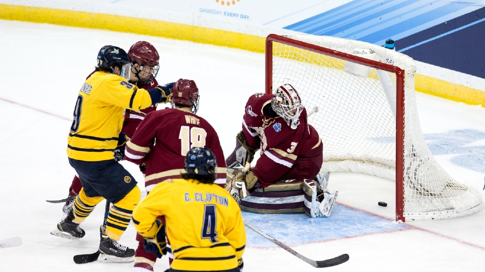 "Quinnipiac's Andrew Taverner scores on Boston College goalie Thatcher Demko in the first period of the Frozen Four semifinal on April 7 at Amalie Arena in Tampa. The ""gritty, greasy goal"" gave the Bobcats a 2-0 lead in their eventual 3-2 victory. (Photo by Richard T Gagnon/Getty Images)"
