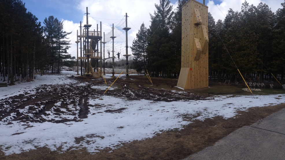 The Climbing Tower and Aerial Adventure Course is seen on April 15, 2014. The two features are part of the NEW Zoo's new Adventure Park attraction.