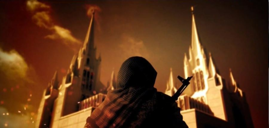 Image with LDS temple, terrorist, circulating online<p></p>