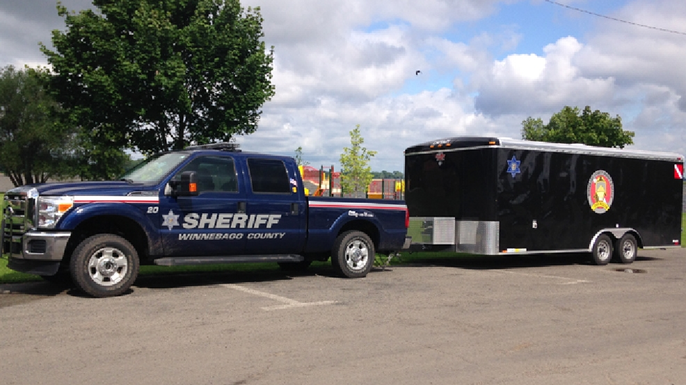Winnebago Co. Sheriff's Office dive team equipment is parked at Lake Winneconne, July 8, 2014. (WLUK/Gabrielle Mays)