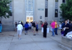 Supporters of gay marriages in Wisconsin gather outside the Outagamie County courthouse on June 16, 2014.