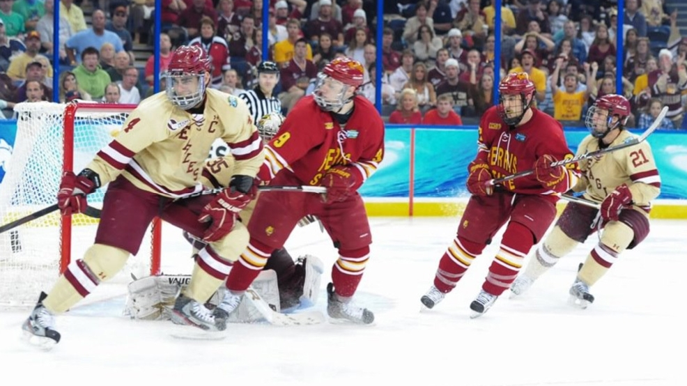 Ferris State battles Boston College in the 2012 championship game. Boston College won, 4-1. (Courtesy Ferris StateAthletics)