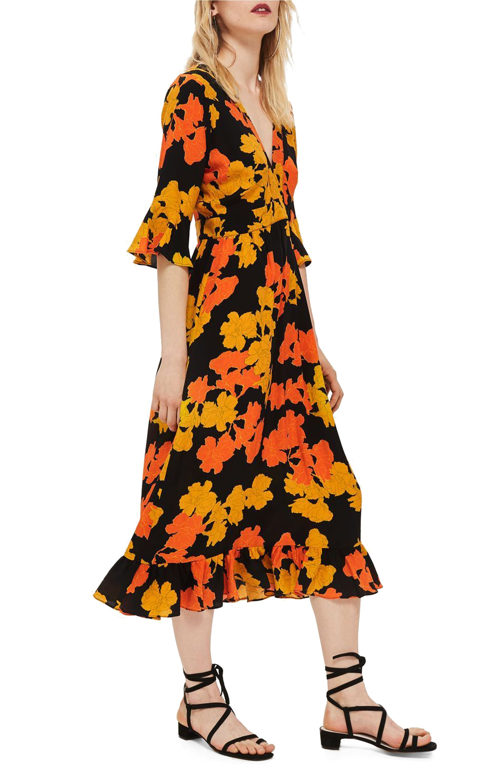 Bold Floral Midi Dress. Sale: $62.90 / After Sale: $95.00. (Image: Nordstrom){ }