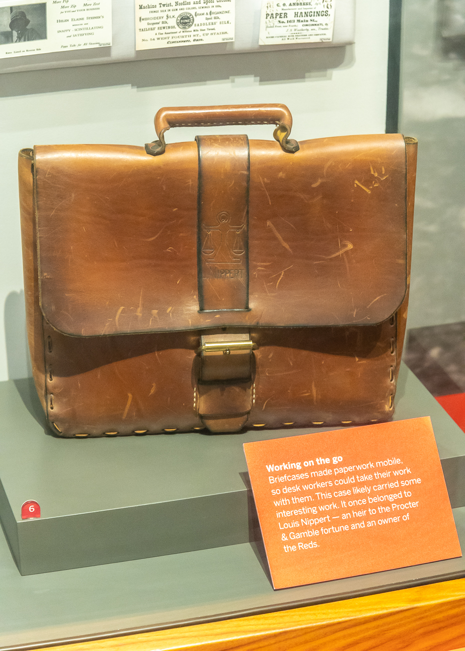 Louis Nippert's personal briefcase is on display. / Image: Phil Armstrong, Cincinnati Refined // Published: 10.23.20