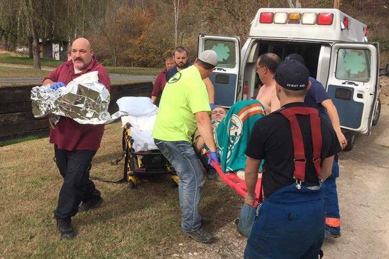 Members of the Kermit Volunteer Fire Department delivered a baby Sunday at a remote residence on Jennie's Creek near the Mingo-Wayne county line. (Kermit Volunteer Fire Department)<p></p>