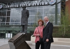 Green Bay Packers chairman emeritus Bob Harlan poses with his wife, Madeline, at Harlan Plaza outside Lambeau Field, July 9, 2014. The plaza was rededicated in Harlan's honor. (WLUK/Brooke Zauner)