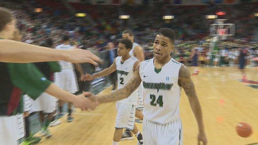Green Bay's Keifer Sykes walks off the court after a win over Detroit on Sunday, January 26, 2014. (WLUK/Justin Felder)